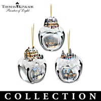 Thomas Kinkade Sleigh Bells Ornaments Collection: Set of Three