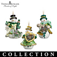 Thomas Kinkade Emerald Isle Snowmen Ornament Collection