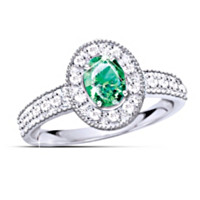 Legend Of The Emerald Women's Diamond And Emerald Ring