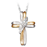 Diamond Embrace Cross Pendant Necklace