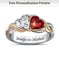 Two Hearts One Love Personalized Ring