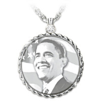 Barack Obama Commemorative Diamond Pendant Necklace