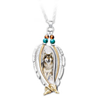 Spirit Of The Wild Sterling Silver Wolf Pendant Necklace