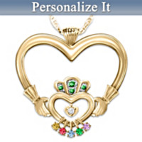 An Irish Mother's Love Diamond & Birthstone Pendant Necklace