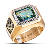 Pride Of Ireland Diamond And Mystic Topaz Men's Ring