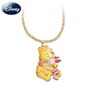 Winnie The Pooh & Piglet Crystal Pave Pendant Necklace