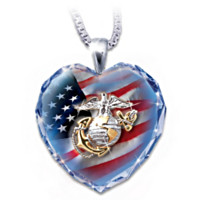 USMC Crystal Heart Pendant Necklace