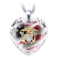 U.S. Navy Crystal Heart Pendant Necklace