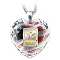 U.S. Army Crystal Heart Pendant Necklace