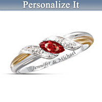 Ruby And Diamond Embrace Personalized Ring