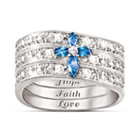 Faith, Hope And Love Diamond And Sapphire Ring