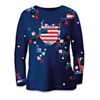 American Pride Patriotic Patchwork Women's Shirt