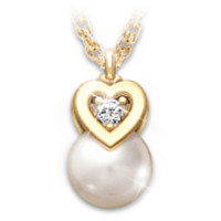 My Precious Granddaughter Cultured Pearl And Diamond Pendant