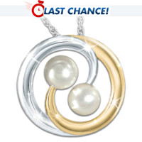 Lover's Knot Cultured Pearl Pendant Necklace