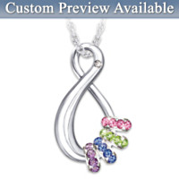 Mother's Infinite Joy Birthstone Pendant Necklace