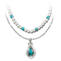 Trio Of Turquoise Pearl Pendant Necklace Set