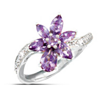 Lena Liu Orchid Diamond & Amethyst Ring