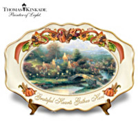 Thomas Kinkade Grateful Hearts Gather Here Platter