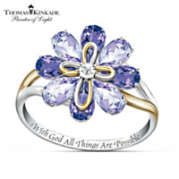 Thomas Kinkade Blossom Of Faith Amethyst And Diamond Ring