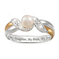 Precious Daughter Pearl And Diamond Embrace Ring