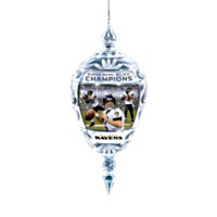 Baltimore Ravens Super Bowl Champions Crystal Ornament