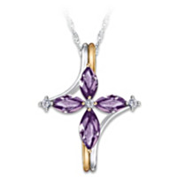 The Trinity Amethyst And Diamond Pendant Necklace