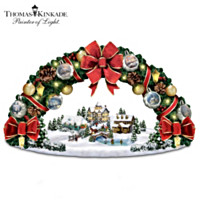 Thomas Kinkade Season's Greetings Wreath Sculpture