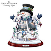 Thomas Kinkade Snow Much Fun Together Sculpture