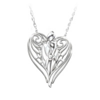 Granddaughter Guardian Angel Diamond Pendant Necklace