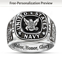 Navy Personalized Men's Ring