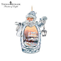 Thomas Kinkade Christmas Is Here Crystal Ornament