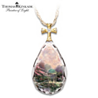 Thomas Kinkade Garden Of Prayer Pendant Necklace