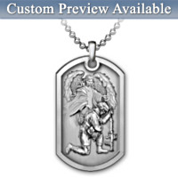 Bless This Soldier Personalized Men's Pendant Necklace