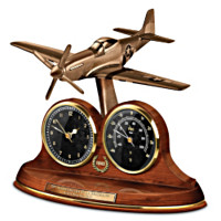 P-51 Mustang Thermometer Tabletop Clock