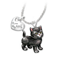 Black Frisky Kitty Diamond Pendant Necklace