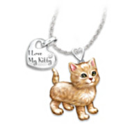 Orange Tabby Frisky Kitty Diamond Pendant Necklace