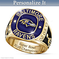 Baltimore Ravens Super Bowl Champs Personalized Ring