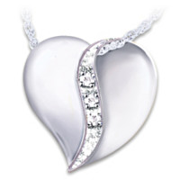 I Love You Mom Diamond Pendant Necklace