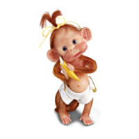 Monkey Cuddles Figurine