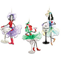Dolly Mama's Happy Hour Ornament Set: Set Three