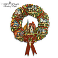 Thomas Kinkade Autumn Village Wreath