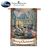 Thomas Kinkade Disney's Mickey & Minnie Merry Christmas Flag
