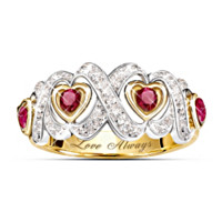 Hearts And Kisses Ruby And Diamond Ring