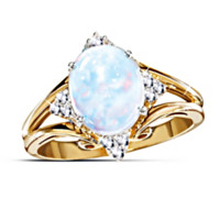Radiant Enchantment Australian Opal And Diamond Ring