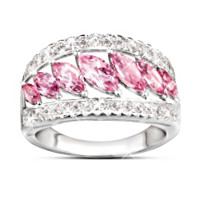 Starlight Elegance Pink Topaz & Diamond Ring