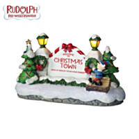 Rudolph's Village Lighted Sign Village Accessory