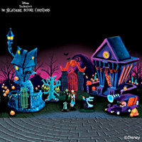Nightmare Before Christmas Black Light Village Set