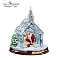 Thomas Kinkade Santa Nativity Crystal Chapel Sculpture
