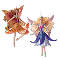 Tiger Lily & Arabela Clematis Fairy Ornament Set