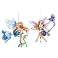 Garden Glory Fairies Ornaments Set One: Set Of Two